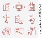 advertisement and media icons ... | Shutterstock .eps vector #351004667