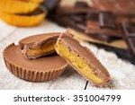 homemade peanut butter cups on...   Shutterstock . vector #351004799