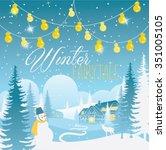 winter happy holidays... | Shutterstock .eps vector #351005105