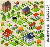 farm toy blocks isometric set.... | Shutterstock .eps vector #351013229