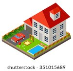 isolated isomatic cottage.... | Shutterstock .eps vector #351015689