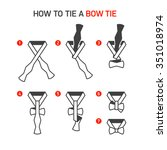 how to tie a bow tie... | Shutterstock .eps vector #351018974