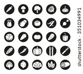 collection of vegetable icons ... | Shutterstock .eps vector #351034991