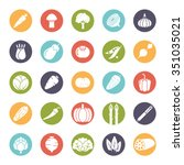 round vegetable icons... | Shutterstock .eps vector #351035021
