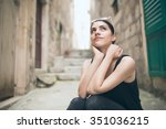 thinking woman standing pensive ... | Shutterstock . vector #351036215
