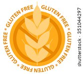 gluten free food label stamp.  | Shutterstock .eps vector #351044297