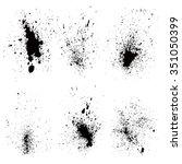 Set of black splash on white background vector illustration