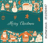 christmas greeting card... | Shutterstock .eps vector #351050447