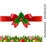 xmas bow with gradient mesh ... | Shutterstock .eps vector #351061619