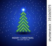 stylized christmas tree... | Shutterstock .eps vector #351065075