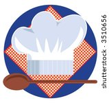 chef's hat with wooden spoon on ...   Shutterstock .eps vector #3510656