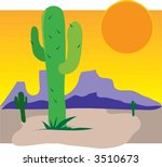 single cactus in a dessert with ... | Shutterstock .eps vector #3510673