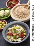 Small photo of spelt salad, insalata di farro, italian cuisine