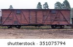 ancient boxcar for the narrow... | Shutterstock . vector #351075794