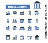 houses  home  buildings  icons  ... | Shutterstock .eps vector #351076625