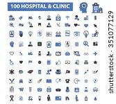 Постер, плакат: hospital clinic medicine icons