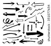 set of vector arrows. hand... | Shutterstock .eps vector #351077654