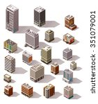 vector isometric icon set or...   Shutterstock .eps vector #351079001