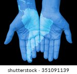 hands with south america  south ... | Shutterstock . vector #351091139