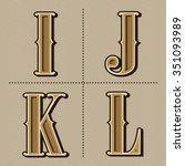 western alphabet letters... | Shutterstock .eps vector #351093989