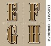 western alphabet letters... | Shutterstock .eps vector #351093995