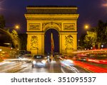 paris arc de triomphe at night... | Shutterstock . vector #351095537