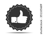 flat thumbs up sign on grey...