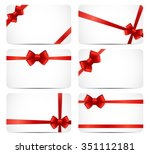 gift card set with red ribbon... | Shutterstock .eps vector #351112181