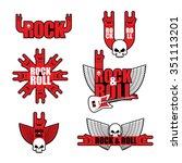 set rock logo. logo for ... | Shutterstock . vector #351113201