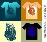 t shirt design with octopus.... | Shutterstock .eps vector #351113741