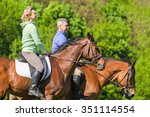 couple enjoy riding horses in... | Shutterstock . vector #351114554