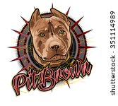 pit brown dog art | Shutterstock .eps vector #351114989