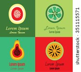 vector fruit icons and logo...   Shutterstock .eps vector #351115571