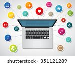 modern laptop with media icons... | Shutterstock .eps vector #351121289
