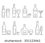 alcoholic beverages thin line... | Shutterstock . vector #351123461