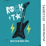 hand drawn rock star typography. | Shutterstock .eps vector #351128591