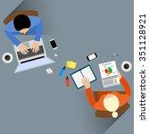 staff around table report... | Shutterstock .eps vector #351128921