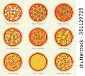 set of pizza with different... | Shutterstock . vector #351129725