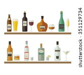 bottles of alcoholic beverages... | Shutterstock . vector #351129734