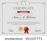 certificate of achievement with ... | Shutterstock .eps vector #351137771