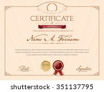 certificate of achievement with ... | Shutterstock .eps vector #351137795