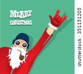 vector rock n roll santa claus... | Shutterstock .eps vector #351151205