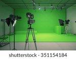 modern empty green photo studio ... | Shutterstock . vector #351154184