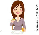 happy beautiful brunette woman... | Shutterstock .eps vector #351154301