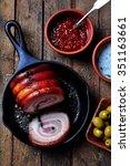 roast pork belly roll with... | Shutterstock . vector #351163661