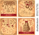 vector vintage christmas cards... | Shutterstock .eps vector #351171731