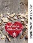 heart shaped christmas... | Shutterstock . vector #351177659