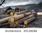 lumber mill with wood storage ... | Shutterstock . vector #35118268