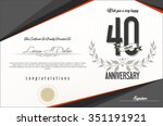 anniversary retro background 40 ... | Shutterstock .eps vector #351191921