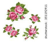 bouquet of the roses  embroider | Shutterstock .eps vector #351192911